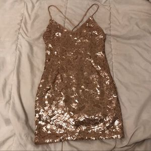 Rose Gold Sequined Dress size small